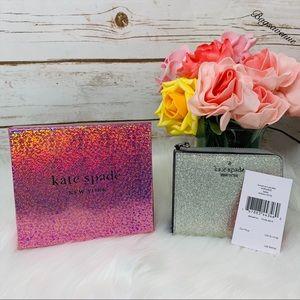 kate spade Bags - boxed small l-zip silver wallet glitter joeley